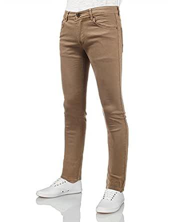 IDARBI 男士基本款休闲棉质紧身牛仔裤 Amp32_tan 30W x 32L