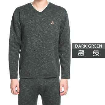 南极人加厚加绒V领青年男士学生中年人秋冬季保暖内衣内裤套装墨绿 L