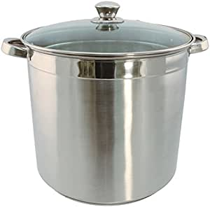 Euro-Ware 3012 Heavy Duty Stainless Steel Stock Pot with Domed Glass Lid & Steam Vent, 12 quart, Stainless Steel