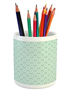 "Lunarable 运动铅笔笔架,各种运动标志不同游戏球,带标靶曲棍球和针,印花陶瓷笔筒,适用于办公配件,多色 Multi 19 3.6"" H By 3.2"" W pen_40284"