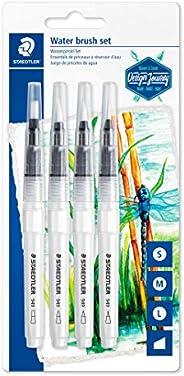 STAEDTLER 949-SBK4-C 水画笔(用于水彩,绘和混合,均匀的水分,坚固的尼龙笔尖,形状稳定)套装带4种不同笔尖
