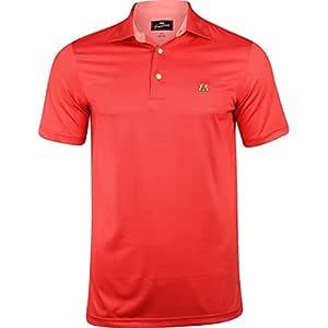 Tourney 男式纹理纯色 Polo 衫,XXL,番茄色