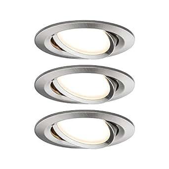 Paulmann 柏曼 Paulmann 93939 SmartHome LED 圆形嵌入式射灯 3 x 5.5 W 吸顶灯 铁 可调 白色 可旋转 通过App蓝牙控制 嵌入式灯 铝制 5.5 W 拉丝
