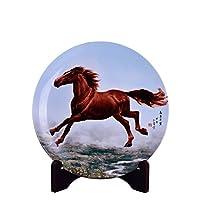 瓷博 景德镇陶瓷盘子挂盘装饰瓷盘摆件 志在千里马到成功工艺品谢本贵