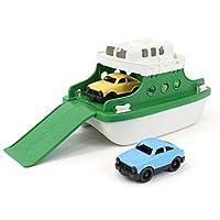 GREEN TOYS 渡轮带微型汽车的浴缸玩具,绿色/白色(适用年龄:3岁以上)