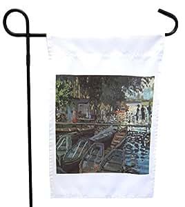 Rikki Knight 克劳德·莫奈 La Grenoulliere 房子或花园旗帜 带27.94 x 27.94 cm 图片,30.48 x 45.72 cm