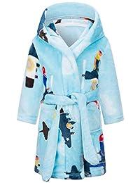Betusline 儿童和成人睡袍,男孩女孩幼儿婴儿法兰绒柔软浴袍,18 个月 - 女士 XL 蓝色飞机 11-12 Years