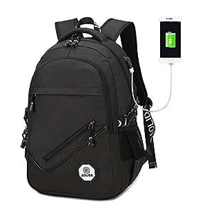 多用途商务笔记本电脑背包,学院背包,旅行单肩包,轻便防水电脑背包带 USB 充电端口,适合小于 15.6 英寸的笔记本电脑和笔记本电脑 15.6 inches