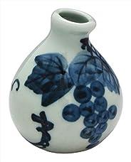 酒杯窯(Suigetsugama) 花器 白×藍 5.8cm 會津本鄉燒 醉月窯 迷你花瓶 葡萄圖案