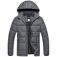 Wantdo 男式羽绒外套隔热防风绗缝夹克带固定兜帽