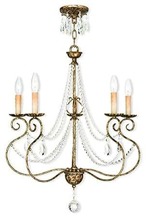 Livex Lighting 51905-36 欧洲青铜吊灯带透明水晶点缀,60.96 厘米 x 60.96 厘米 x 72.39 厘米 需配变压器