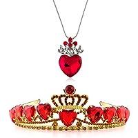 Evie 红心皇冠和项链红心皇冠珠宝套装女王心形服装粉丝珠宝青少年礼物