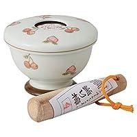 研钵 日本产 : 有田烧 水果 附带桐木的研磨器 Japanese Sesame pickpocket small bowl Porcelain/Size(cm) Φ9.5x7/No:689508