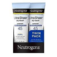 Neutrogena 露得清 超透明抗干性非油腻防晒乳液,带SPF 45,符合TSA的旅行装规格,容量为88毫升,3盎司(约85.05克)/一支,一包2支