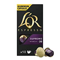 L'Or Espresso Coffee Supremo Coffee - Intensity 10 - 与Nespresso机器兼容的100粒铝胶囊(10x10豆荚包装)