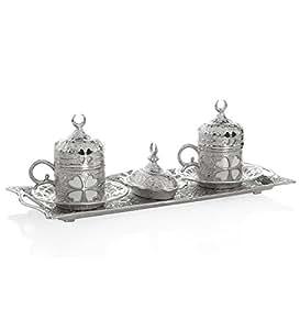 (选择您的 SET)6 X 土耳其风格茶杯,配有夹具盖和碟子,100 毫升(银色带盖) Clover Silver 43219-46206