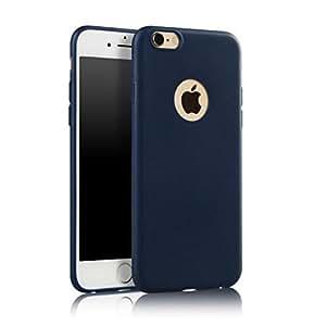 iPhone 7 7S 手机壳,纤薄光滑优质耐用柔软 TPU 橡胶硅胶后盖保护套,适用于 iPhone 7 7S(5.5 英寸)IP7SiliconNavyBlue *蓝