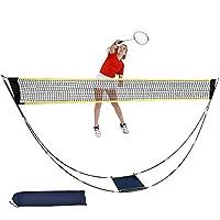 CDCASA 便携式羽毛球网折叠羽毛球网套装带支架携带袋简易设置海滩网球排球网适用于户外/室内庭院后院草坪