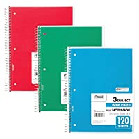 """Mead Spiral Notebooks, 3 Subject, 120-Count Wide Ruled Sheets, 10-1/2"""" x 7-1/2"""", Red, Green, Blue, 3 Pack (73179)"""