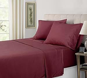 Inovatex 南湾超细纤维纯色床单套装 梅红色 全部 OS SHS PLM FL