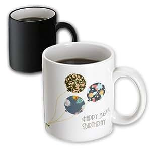 3dRose InspirationzStore Occasions - 生日快乐 - 现代时尚花卉气球。 优雅的黑色棕色蓝色 36 岁老式 Bday - 马克杯 黑色/白色 11 oz mug_161977_3