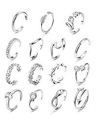 Florideco 15 件可调节脚趾环女式花朵波浪开口环套装凉鞋海滩珠宝  银色