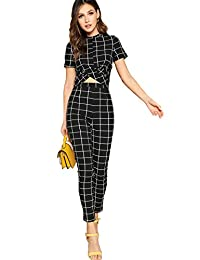 SheIn 女式交叉包裹前格子圆短袖上衣和紧身裤套装