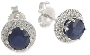 14k White Gold Round Blue Sapphire and Diamond Halo Stud Earring (1 1/2 cttw, H-I Color, I1-I2 Clarity)