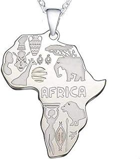 Jude Jewelers 不锈钢爱非洲地图部落文化动物鸡尾酒派对嘻哈骑行者吊坠项链