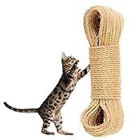 Hamiledyi 猫树替换绳索,未经处理天然剑麻绳索索索索索索,适用于猫咪抓挠柱,塔,家具,花盆,猫屋,猫玩灵活抓挠垫(8 毫米 66 英尺)