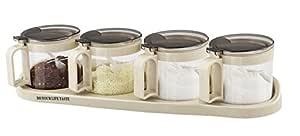 Tenta 厨房美食亚克力调味盒带汤匙,香料罐套装调味品瓶,厨房用品,设计美观 玻璃 43208-4981