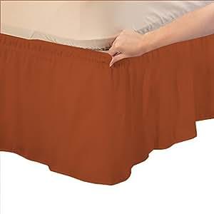 Relaxare 500 支 * 埃及长绒棉 1 件包裹式床裙纯色(裙深:30.48 cm) - 超软透气优质面料 Brick Red Solid Short Queen RE51PCWBPBS12INQBRRESO-SQIN