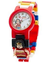 LEGO 樂高 漫畫8020271 英雄神奇女俠兒童Minifigure鏈接可建造手表 |紅色/白色|塑料| 25毫米表殼直徑|模擬石英|官方