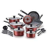 特福内外不粘锅厨具套装(可用于烤箱和洗碗机) 红色 18-Piece