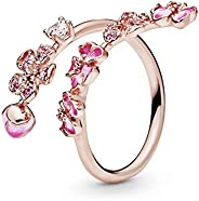 Pandora 潘多拉玫瑰戒指,桃花分支,粉红色水晶,透明粉红色锆石,粉色合成蓝宝石和粉红色珐琅