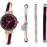 Anne Klein 女士 AK/2716RBST 施华洛世奇水晶点缀玫瑰金和酒红色手表和手镯套装