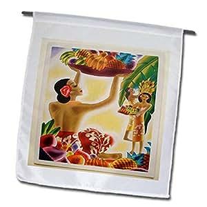3dRose 数字绘画夏威夷艺术装饰水果篮花园旗,30.48 x 45.72 厘米