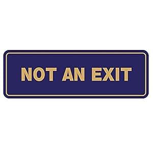 """标准 NOT an EXIT 门/墙壁标志 2-1/2"""" x 7"""" - Medium Blue/Gold"""