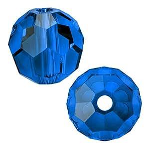 Adabele 奥地利圆形水晶珠适用于施华洛世奇 Preciosa 耳环手镯 脚链 首饰制作 Capri 蓝色 4mm 632181318997