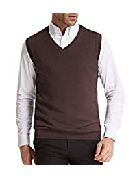 PJ PAUL JONES 男式柔软针织休闲纯色 V 领毛衣背心