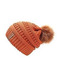 QUEENFUR 女式针织宽松无檐小便帽带人造毛皮绒绒球冬季柔软保暖滑雪帽
