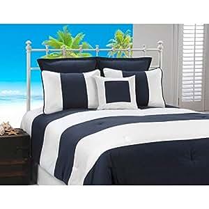 Victor Mill Cabana 条纹*蓝白色航海棉被 4 件套 *蓝/白色 Full / 4 Piece CABN-202S