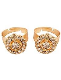 Touchstone 新款印度宝莱坞漂亮民族镶嵌钻石外观设计师珠宝,打造金色调戒指。