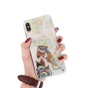 MC 时尚可爱光泽透明金色多彩玫瑰花朵柔软纤薄 TPU 苹果手机壳 iPhone 6 / 6s