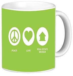 Rikki Knight Peace Love Real Estate Broker Lime Green Color Photo Quality Ceramic Coffee Mug, 11-Ounce