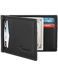 Travelambo 皮革 RFID 屏蔽超薄前口袋钱包钱夹