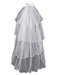 UgyDuky 女士 120 厘米(47.2 英寸)婚礼面纱 4 层蝴蝶结珍珠蕾丝面纱梳新娘面纱婚礼头饰新娘头饰婚礼头饰婚礼单身派对新娘用品