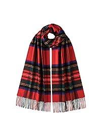 Johnstons of Elgin 宽尺寸苏格兰格纹羊绒围巾WA57