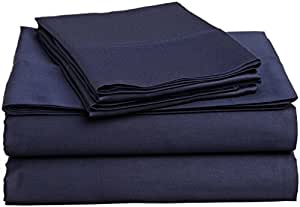 Rajlinen Camper/RV 短双人床 4 件套床单套件 Bland 耐用 800 支(38.1 cm 袋)埃及棉 *蓝纯色 RV King 800-mega-033
