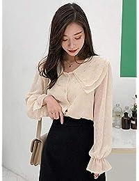 Goralon 2019新款韩版雪纺波点衬衫女心机设计感灯笼泡泡袖仙的洋气衬衣显瘦打底衬衫雪纺衫
